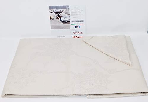 Vallesusa Servizio Da Tavola Per Natale Art. Luxe VAR. Platino In Jacquard Tinto In Filo E Lamè Con Tovaglioli (Platino 910, Rett. X 8 Cm. 160X225)