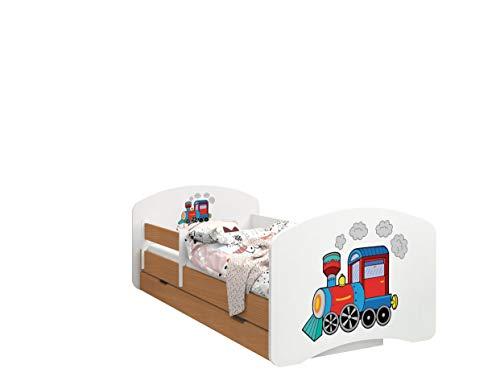 HappyBabies - Doppelseitiges Kinderbett MIT SCHUBLADE Modernes Design mit sicheren Kanten und Absturzsicherung Schaumstoffmatratze 7 cm Buche (Lokomotive, 180/90)