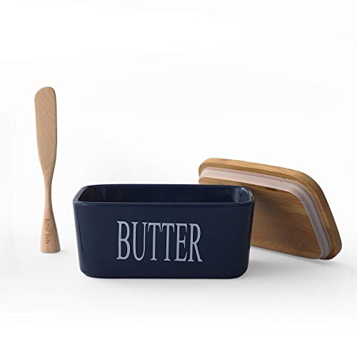 650ML Large Butter Dish Container with Airtight Bamboo Lid amp Standable Wooden Butter Knife Porcelain Butter Keeper Holds Up to 2 Sticks of Butter Navy
