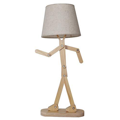 RXM Houten tafellampen Unieke retro lampshade-DIY verstelbare swing arm bijzettafel lichten kind boy slaapkamer woonkamer