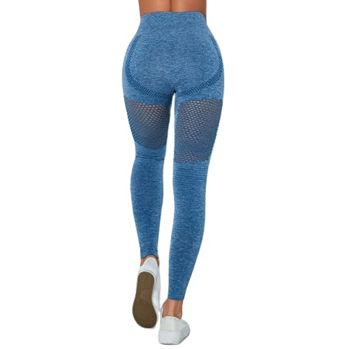QTJY Deportes Pantalones de Yoga sin Costuras de Cintura Alta para Mujer Entrenamiento Energy Medias sin Costuras Flexiones Pantalones de chándal de Celulitis E L