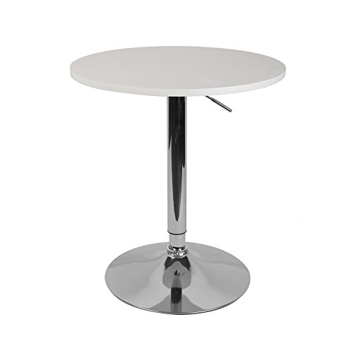 LCH 23.6' Round Dining Bar Table Adjustable 360 Swivel Kitchen Home Bar Furniture MDF Top Bistro Pub Table with Black Base, 29'-35.8' Height, White