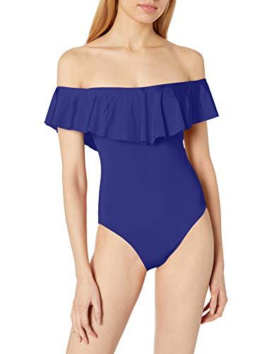 Trina Turk Women's Off Shoulder Ruffle Bandeau One Piece Swimsuit, Ultramarine//Getaway Solids, 0