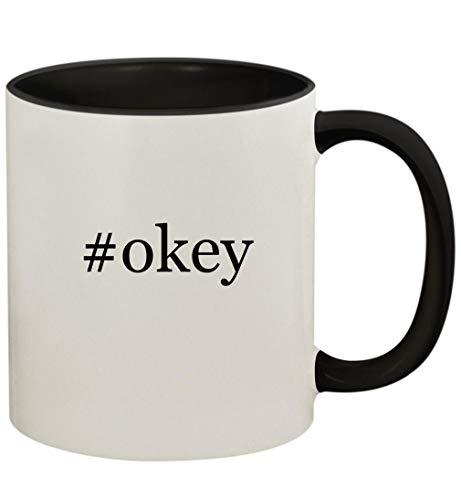 #okey - 11oz Ceramic Colored Handle and Inside Coffee Mug Cup, Black