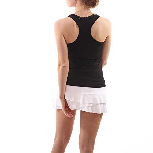 Sportkind Mädchen & Damen Tennis, Fitness, Sport V-Neck Tank Top Racerback, atmungsaktiv, UV-Schutz UPF 50+, schwarz, Gr. S
