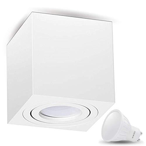 JVS Aufbauleuchte Aufbaustrahler Deckenleuchte Aufputz LED 7W Warm-weiß Milano GU10 Fassung 230V Eckig Weiss schwenkbar Deckenleuchte Strahler Deckenlampe Aufbau-lampe Downlight aus Aluminium