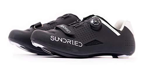 Sundried Chaussures de vélo de route pour homme à utiliser avec crampons, VTT, vélo d appartement, vélo de route - Noir - Noir , 46 EU