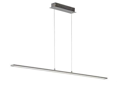 WOFI Pendleleuchte, 1-flammig, Serie Luz, 1 x LED, 25 W, Breite 6 cm, Tiefe 120 cm, Abhängung 150 cm, Kelvin 3000, Lumen 1750, nickel matt 7682.01.64.1200