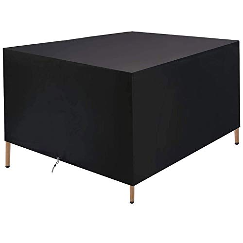 Heavy Duty Outdoor Patio Furniture Cover, Garden Set Cover, 420D Square Patio Table Cover, Waterproof Snowproof Dustproof, Black+storage Bag,L:49''xW:49''xH:29''