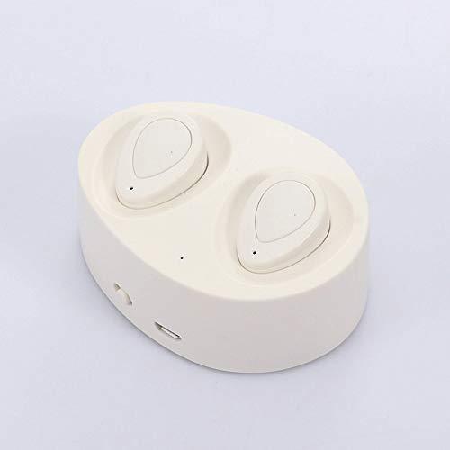 QCHEA TWS Mini Auricular Bluetooth Auriculares inalámbricos Auriculares Audifonos Fone de ouvido con micrófono funcionando for un teléfono móvil (Color : White)