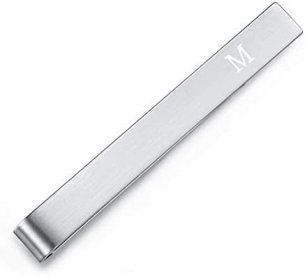 HONEY BEAR Mens Initial Alphabet Letter Tie Clip Bar Normal Size Gift 5 4cm M Silver product image