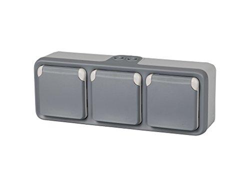 Legrand Plexo–Dreifach-Steckdose für Einbaustrahler modernes grau