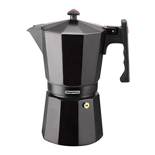 MAGEFESA Colombia – La cafetera MAGEFESA Colombia está Fabricada en Aluminio Extra Grueso. Pomo y Mangos ergonómicos de bakelita Toque Frio. (Negro, 3 Tazas)