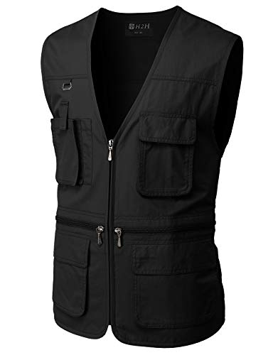 H2H Men's Fishing Vest Multi Pockets Plus Size Outdoor Climbing Causual Tactical Multi Use Vest BLACK US L/Asia XL (CMOV050)