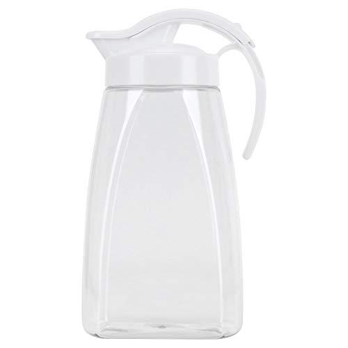 Jarra de agua fría de plástico de 1,8 l, botella de agua transparente de gran capacidad, té, vino, café, bebida fría y caliente, botella para el hogar