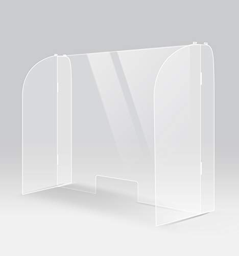 ShieldPix 40x28' Protective Sneeze Guard with Full Side, Acrylic Barrier Shield for Counter or Desk, Transparent Plexiglass Protection from Sneezes or Other Droplets with 5x11 Cutout Slot