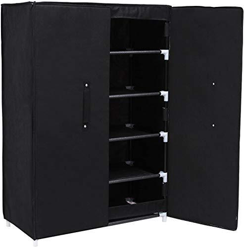 Gabinete de zapatos de lona portátil, gabinete de zapatos para zapatos de almacenamiento de zapatos de pie,Black