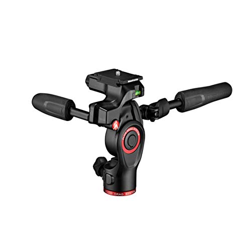 Manfrotto Befree 3-Way Live Camera Tripod Head, Aluminium, 6kg Payload, for Travel Tripods, with Foldable Handles, Fluid Drag System, for Photo and Video, Vlogging Equipment