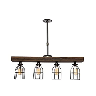 West Ninth Vintage Pendant Farmhouse Chandelier Fixture - Fayette Wood Beam Light - Rustic Lighting for Kitchen Island Lighting, Dining Room, Bar - Jacobean Stain