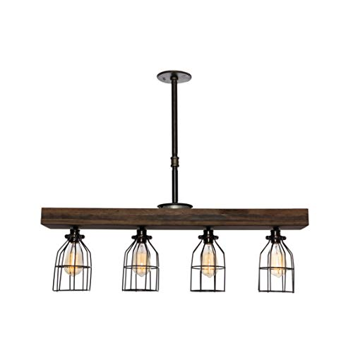 West Ninth Vintage Pendant Farmhouse Chandelier Fixture   Fayette Wood Triple Wood Light Mixed With Stained Wood Beam And Metal Light Cages