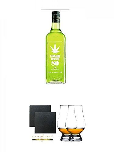 Antonio Nadal Cannabis Absinthe 80 0,7 Liter + Schiefer Glasuntersetzer eckig ca. 9,5 cm Ø 2 Stück + The Glencairn Glass Whisky Glas Stölzle 2 Stück