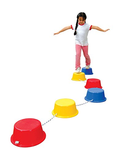 School Smart Stepping Buckets Balance Builders - 5 x 12 inch - Set of 6 - 2 Each of 3 Primary Colors - 018901,Assorted Colors