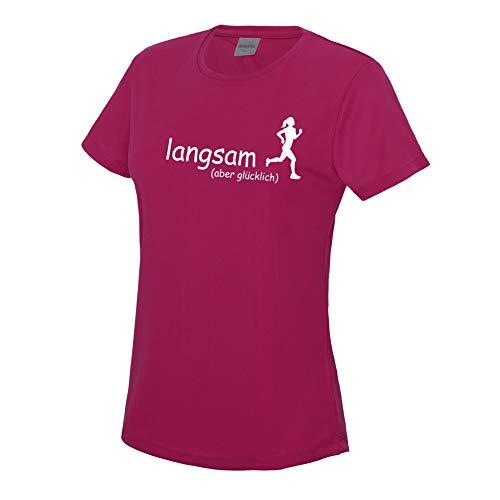 RoughTex Laufshirt Damen langsam Aber glücklich | Fun T-Shirt Sprüche T-Shirts für Jogging Laufen Fitness Medium Fit hotpink weiß L