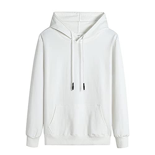 Primavera Otoño Color Sólido Casual Hombres Sudaderas Sudaderas Harajuku Streetwear Sudaderas, blanco, XXXL