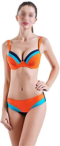 Vrouwen Pieces Lage Taille Bikinizwempakken Triangle Bandeau Badpakken Ondergoed Bra Top Met Swim Bottom (Color : Orange, Size : XXXL)
