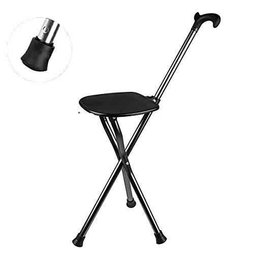 JJYP - Asiento Plegable para caña de Pescar con muleta de Aluminio Ajustable y Ligero, muletas de Madera Plegable (Negro)
