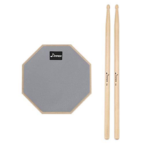 Donner Practice Pad Drum Übungspad 8 Zoll/20.32cm mit Drumsticks