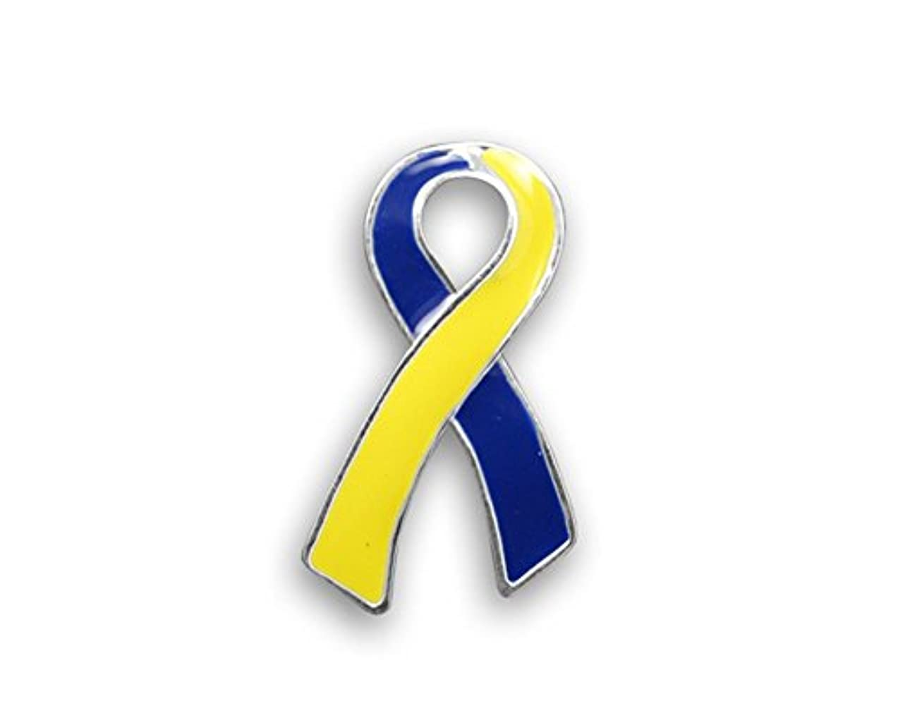 Down Syndrome Awareness Blue & Yellow Awareness Large Flat Ribbon Pin (1 Pin)