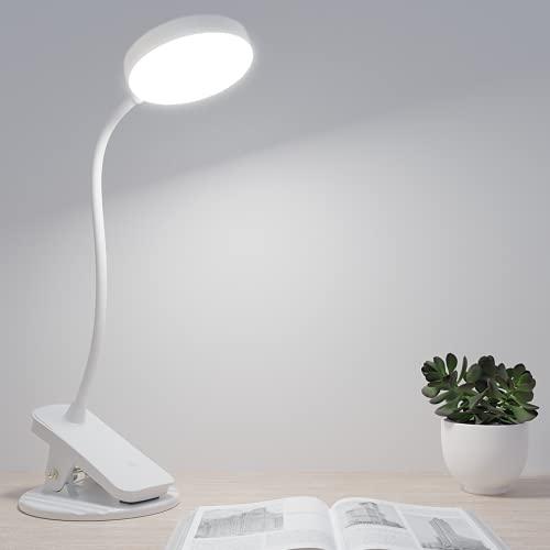 Luz Lectura con Flexo Pinza, Hepside Lampara Escritorio Pinza con Recargable USB, Mucho Niveles de Brillo Flexo Led Pinza con Protección Ocular, 360° Cuello Flexible Luz Lampara Lectura Cama