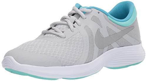 Nike Mädchen Revolution 4 (Gs) Laufschuhe, Grau (Pure Platinum/Metallic Silver/Wolf Grey/Hyper Turq 007), 38 EU