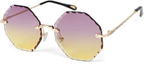styleBREAKER Gafas de sol redondas para mujer, sin marco, con cristales tintados en corte de diamante, patillas grabadas, lentes multiangulares 09020118, color Amarillo, talla Einheitsgröße
