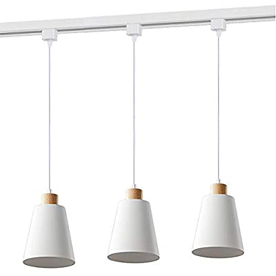 STGLIGHTING H-Type Track Pendant Light with 3.2 ft Cord White Iron Shade Nordic Style Pendant Lighting Industrial Factory Pendant Lamp Modern Wooden Track Lighting 3 Lights Bulbs Not Included