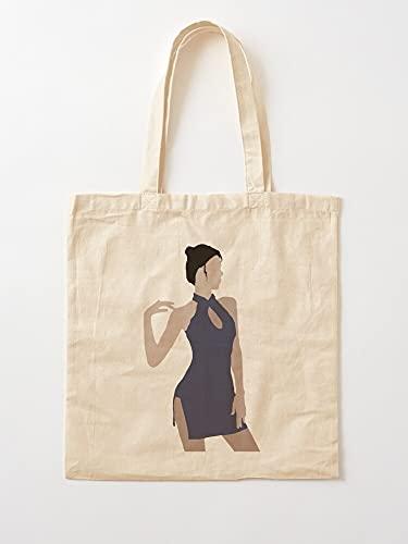 Générique Asian Arousing Art Hair Vector Lady Qipao Beautiful Black Cheongsam | Bolsas de lona con asas bolsas de la compra de algodón duradero
