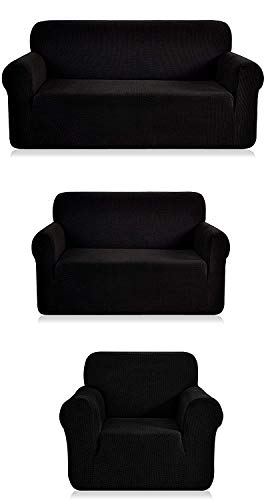 Fancy Linen 3pc Slipcover Set Furniture Cover -Spandex- Set Includes Sofa and Love-Seat and Chair Solid Black New
