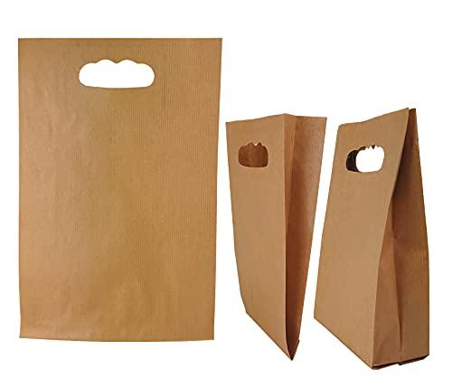50stk Papiertüten Braun – 15 x 27 x 6,5 cm Papiertragetasche mit Griffloch, Papiertüten klein, Geschenktaschen klein, DIY Adventskalender, Kraftpapiertüten (Braun, 15x27x6,5 50g/m2)