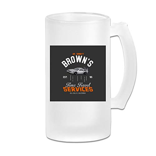 Taza de cristal esmerilado impresa, de 473 ml, con texto en inglés 'Back to The Future Dr Emmett Brown Time Travel Services'