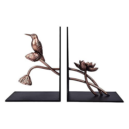WJJ Estanteria Libros Bookend Fin Support Decorative Metal Libro Descansa Un Par De Mesa De Metal Bookend Lotus Flowers Designs