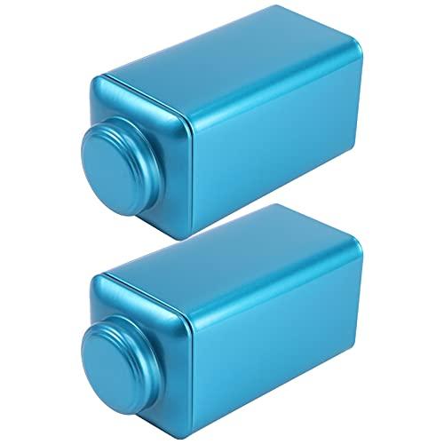 KESYOO 2 Piezas de Lata de Metal para Té Lata Cuadrada Hermética Cubo Vacío Recipiente de Almacenamiento de Especias de Café en Grano para Condimento de Azúcar Azul