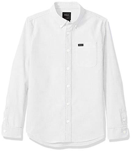 RVCA Jungen Thatll DO Stretch Long Sleeve Woven UP Shirt Button Down Hemd, Weiß, Groß