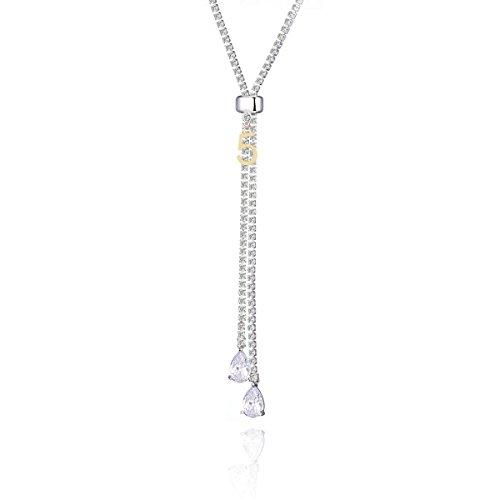 Lange Tennis Halskette für Frauen, Quaste Anhänger Halskette für Mädchen Gold und Silber Kette Y Halskette mit Zirkonia Kristall (Versilbert)