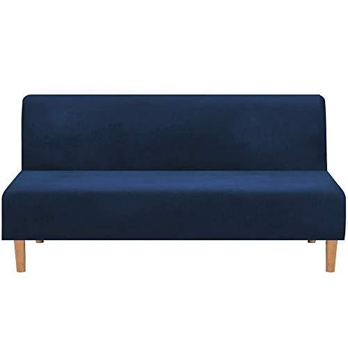 Sofabezug Ohne Armlehnen 3 Sitzer, Spandex Couch Bezug Ohne Armlehne Elastischer Antirutsch Stretchhusse, Bettcouch Schonbezug Einfarbig (Dunkelblau)