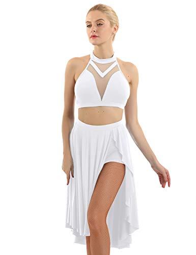 dPois Vestido de Baile Latino Mujer Vestido Salsa Disfraz Bailarina Vestido de Salón Bailar Rumba Zumba Top Malla Falda...