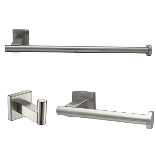 XVL Bathroom Accessories Set, Toilet Roll Paper Holder, Towel Ring, Robe Hook SUS304 Stainless Steel Brushed GT1113A