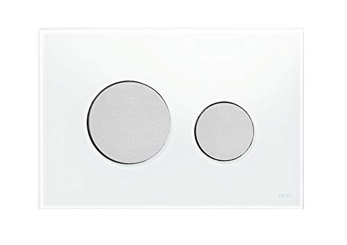 Tece 9.240.659 Loop Betätigungsplatte für WC (Glas weiß, Tasten Chrom, Zweimengentechnik, bedienbar von Oben und vorne) 9240659