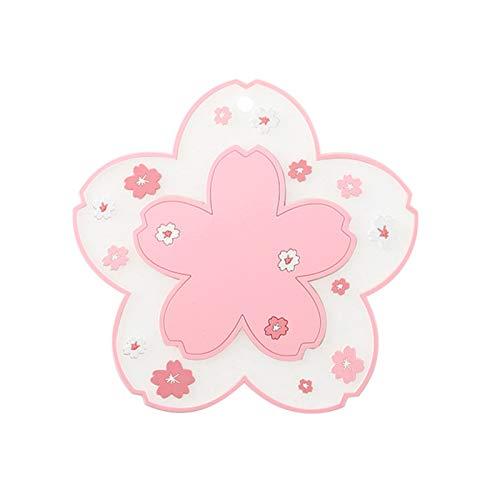 lamta1k Isolierunterlage, 2 Stück, PVC-Blumenform, rutschfest, Wärmedämmung, Untersetzer für Tee, Kaffee – Pink L