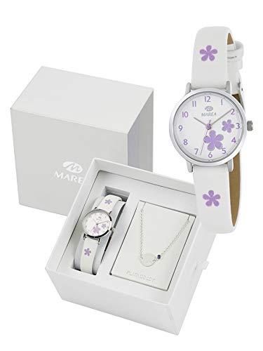 Marea B41273/4 Reloj y Pulsera Niñas Comunión Cuarzo Acero Flores Tamaño 26 mm